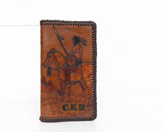 Tooled Brown Leather Wallet w/ Horse & Indian Design Braided Stitch Trim Checkbook Holder