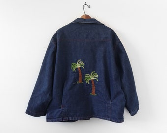 Pearl Snap Denim Jacket with Embroidered Palm Trees