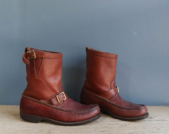 All Leather Moc Toe Snake Boots