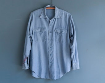 Vintage Distressed Long Sleeve Chambray Work Shirt