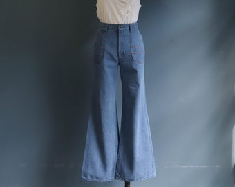 1970's Bell Bottom High Waist Jeans with Coral Stitching