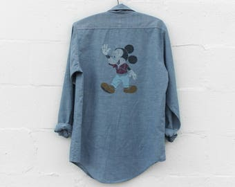 SML | 1960's Big Mac Chambray Long Sleeve Button Up Shirt Work Wear w/ Hand Painted Mickey Mouse