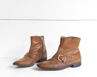8 | Men's Vintage Buckle Boots 1960's Mod Ankle Boots in Camel Brown