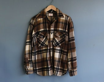 5 Brothers Brown & Black Plaid Cotton Flannel Shirt Jacket