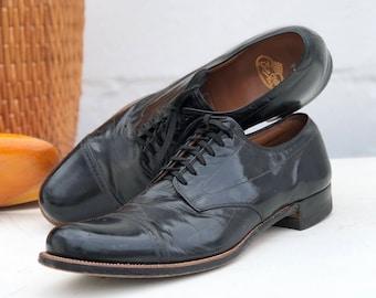 """1940's Vintage Cap Toe Brogue Oxfords Black Dress Shoes """"The Edwin Clapp Shoe"""""""
