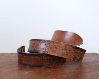 Hawaii Tooled Leather Belt Strap