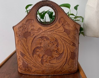 1950s Tooled Leather Tote Bag Distressed Leather Tote