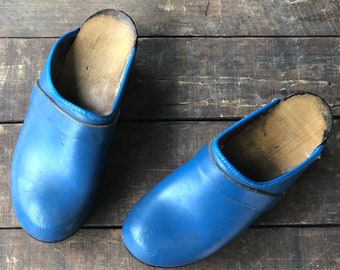 Vintage Leather and Wood Clog