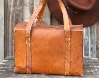 1960's Small Leather Kit Bag Square Fold Top Tote Bag