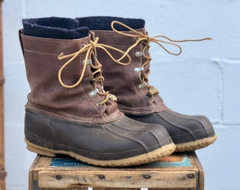Men's Vintage Script Label LL Bean Boots Tall Duck Boots Leather Winter Rain Boots Cursive Label