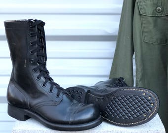 7 R | Vintage Combat Boots 1960's Lace Up Jump Boot Military Cap Toe