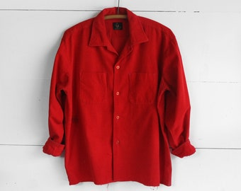 B.V.D. Red Corduroy Button Up Shirt size XL Mended