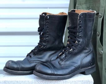9 R | Vintage Combat Boots 1960's Cap Toe Military Boots in Black Leather