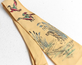 Vintage 1950's Pilgrim Rayon Cravats Painted Tie Hound and Duck Hunting Scene