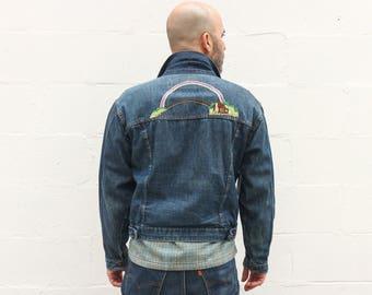 LRG | 1970's DEE CEE Rainbow Embroidered Denim Jacket w/ Pleated Front