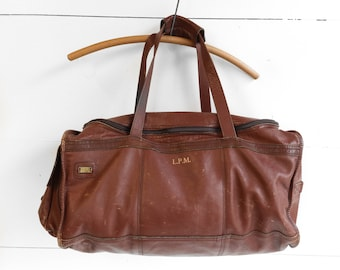 1970's LAND Brown Leather Duffle Bag