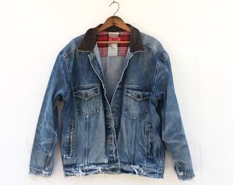LRG | Destroyed Marlboro Denim Jacket Cigarette Souvenir Jacket Frayed Distressed