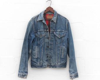 MED | 38 L | Levi's Plaid Flannel Lined 4-Pocket Denim Jacket Double Row Stitch