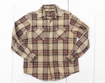1980's Trashed Big Mac Flannel by JC Penny in Brown Plaid