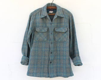 SML | 1960's Pendleton Fitted Board Shirt Blue Plaid Wool Button Up