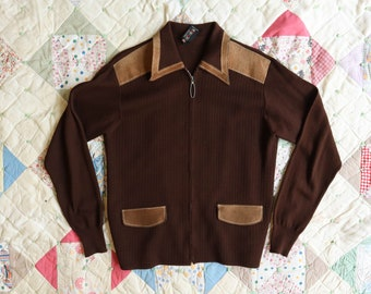 Marco Doria Brown Knit Zip Cardigan with Leather Trim