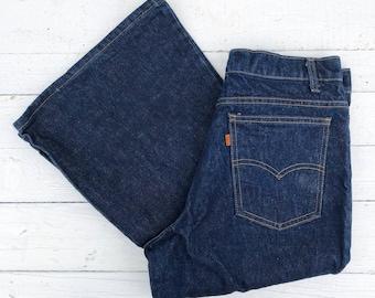 35-36 waist | Vintage Levis 684 Super Bell Bottom Orange Tab Dark Rinse