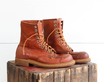7 D | Vintage Steel Toe Work Boots in Russet Brown Leather