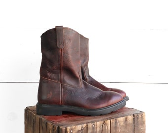Vintage Red Wing Ranch Boots in Brown Leather with Steel Toes size 12 D