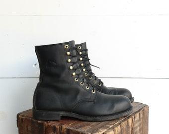 Men's Georgia Steel Toe Black Work Boots Round Toe