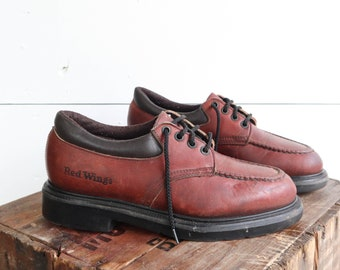 Vintage Red Wing Shoes Lace Up Moccasin Stitch Toe Work Shoes