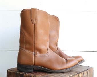 Men's Pull On Ranch Boots in Brown Leather