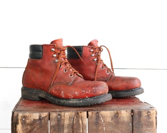 Vintage Steel Toe Red Wings Boots Lace Up Work Boots size 8.5 D