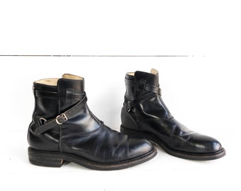 Vintage Men's Ankle Boots Wrap Around Strap and Buckle Moto Boots