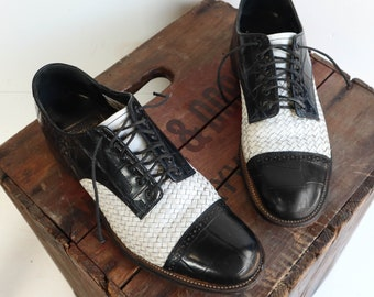 Stacy Adams Woven Leather Black & White Tuxedo Cap Toe Oxfords