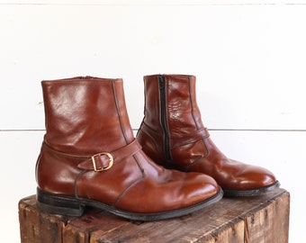 Men's Brown Zipper Boots