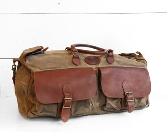 Vintage LL Bean Waxed Canvas and Leather Duffel Bag
