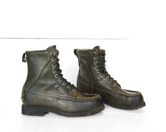 Vintage Browning  Moc Toe Hunting Boots in Green