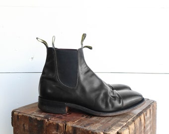 R.M. Williams Chelsea Ankle Boots Black Leather Slip On Boot