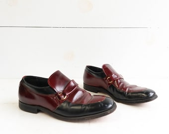 Men's Rockabilly Loafer Shoes Burgundy & Black size 9 D