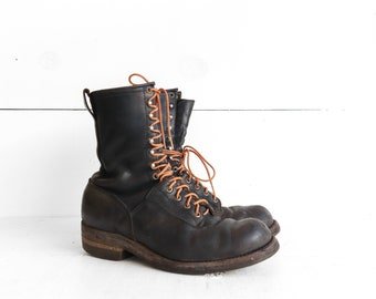 10.5 C (Narrow) | Vintage Red Wing Linesman Boots Black Leather Lace Up Boot