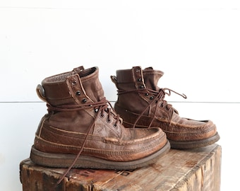 Russell Moccasin Work Boots in Brown Canvas & Leather