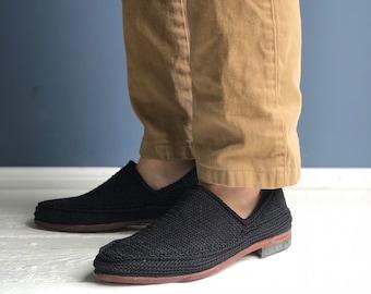 Men's Summer Loafer Black Woven Slip On Shoes