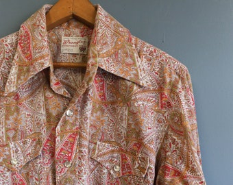 1970's Wrangler Paisley Print Pearl Snap Western Shirt