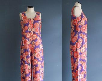 Vintage 1960's Floral Sleeveless Jumpsuit