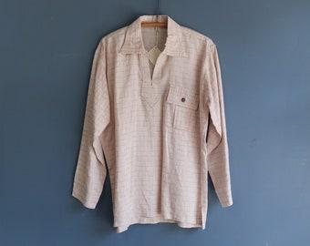 1970s Long Sleeve Linen Pull Over Shirt