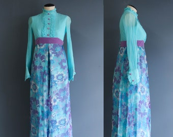 Vintage 1960s Blue and Purple Floral Jumpsuit
