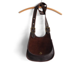 Vintage Coach Berkeley Saddle Bag in Brown Leather Suede 9014