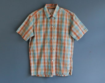 Orange & Blue Plaid Loop Collar Button Up Short Sleeve Shirt by Pilgrim