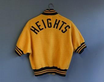 "Vintage 1940's Olympic Sport Goods ""Heghts"" Short Sleeve Sports Zipper Uniform"