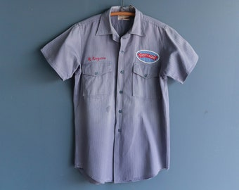 1960s Frosty Morn Meats Shirt | 1960s Frosty Morn Meats Company Shirt | 1960s Men's Company Work Shirt | 1960s Sanforized Cotton Work Shirt